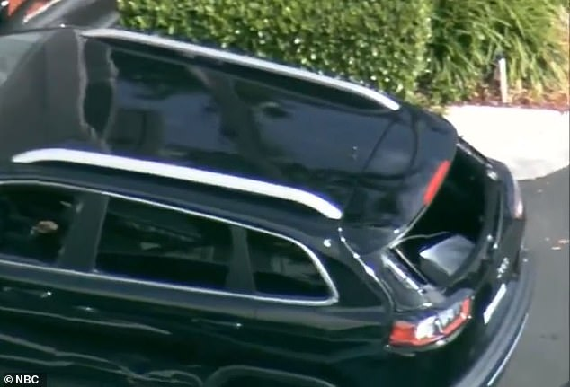 The back of the SUV appeared to have been completely shot out after the pursuit